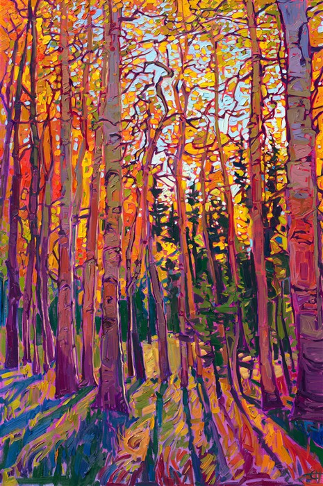 Aspen tree fall colors impressionism oil painting for sale by Erin Hanson