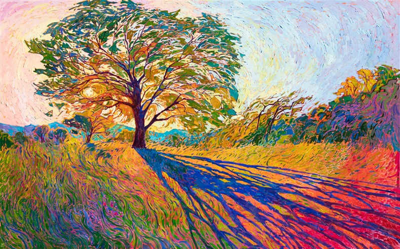 Large oil painting of Texas hill country, in a contemporary impressionism style, by modern artist Erin Hanson