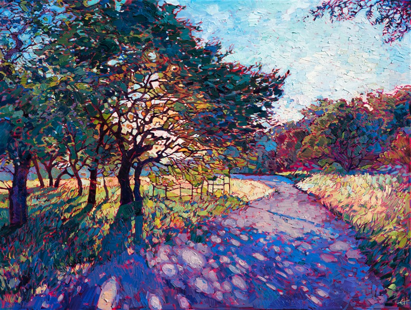 Crystal path painting of Texas hill country, by American up and coming artist Erin hanson.