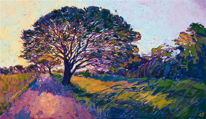 Texas rural landscape oil painting by modern impressionist Erin Hanson