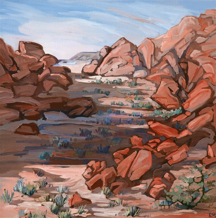 Oil painting of Valley of Fire scenery with red rocks by impressionist artist Erin Hanson