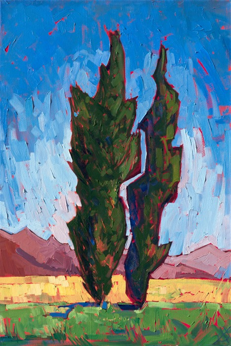 Impressionist oil painting of Paso Robles with two cypress trees against a vivid blue sky by California artist Erin Hanson
