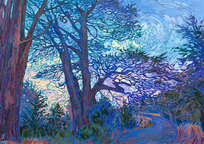 Mendocino cypress pine original impressionism oil painting by California artist Erin Hanson