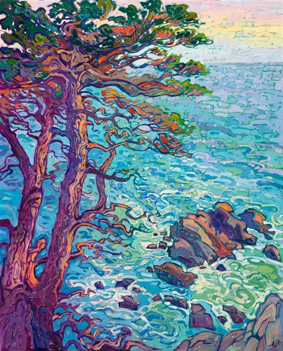 Lone Cypress oil painting of Pebble Beach 17 Mile Drive, by California impressionist Erin Hanson