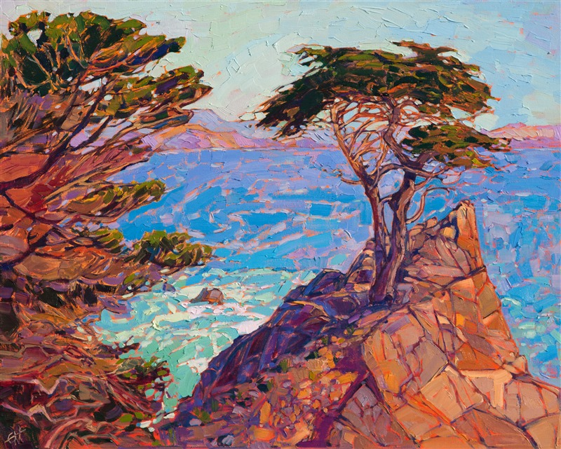 Modern impressionism oil painting of Lone Cypress in Monterey.