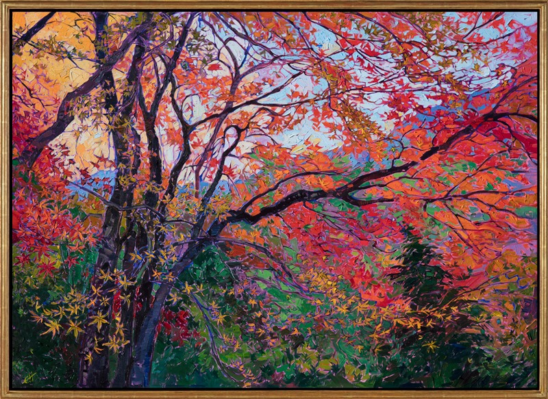 Oil painting of autumn a maple trees in Kyoto Japan by contemporary artist Erin Hanson