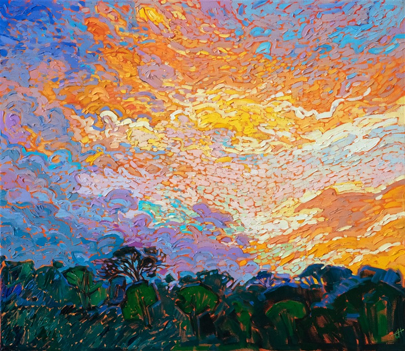 Dappled light modern impressionism oil painting by Erin Hanson
