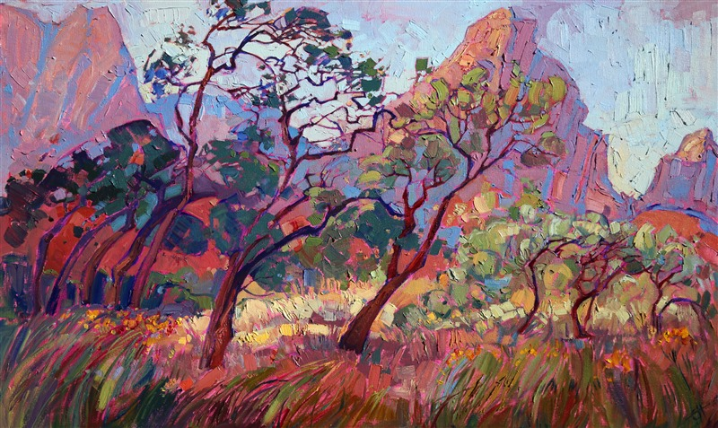 Zion National Park expressionism oil painting by landscape painter Erin Hanson