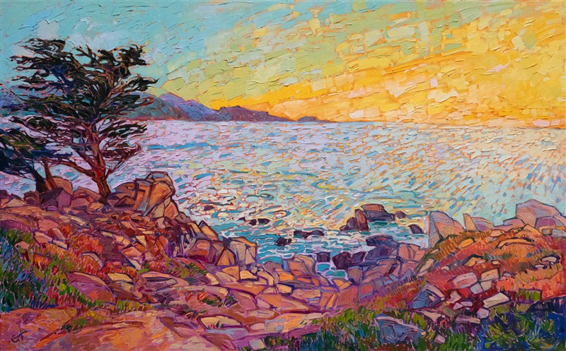 Pebble Beach Monterey original oil painting by Erin Hanson