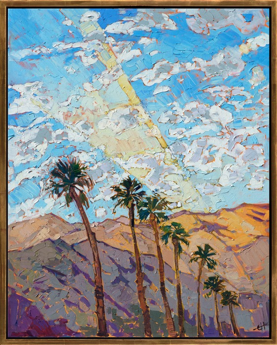 Desert oil painting with palm trees by impressionist artist Erin Hanson framed in gold floater frame