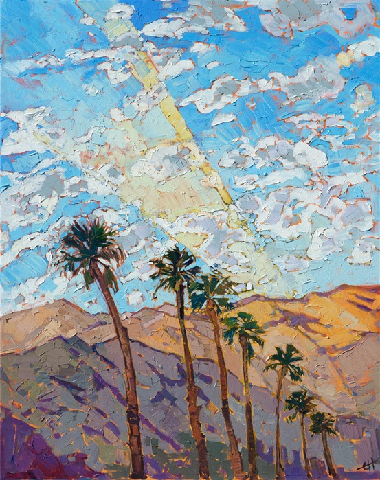 Oil painting of Santa Rosa Mountains desert landscape by contemporary impressionist artist Erin Hanson