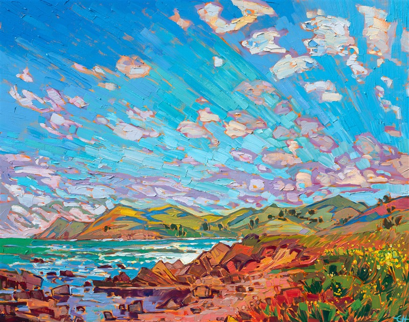 California impressionism oil painting coastal landscape by American painter Erin Hanson.