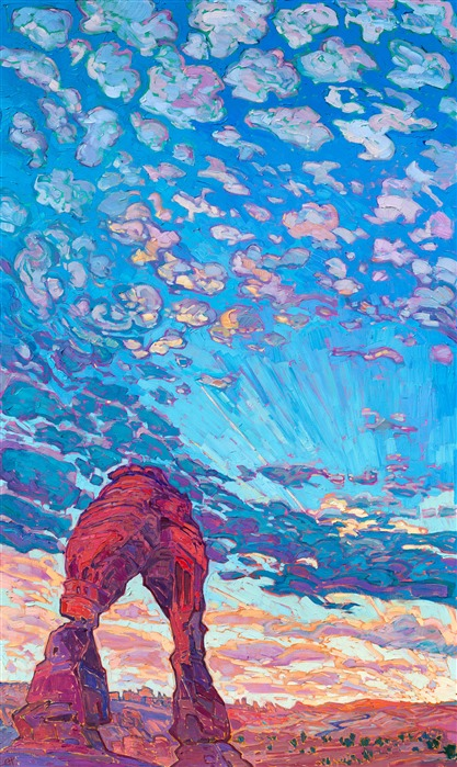 Delicate Arch original oil painting for sale of Arches National Park, southern Utah, by modern impressionist Erin Hanson