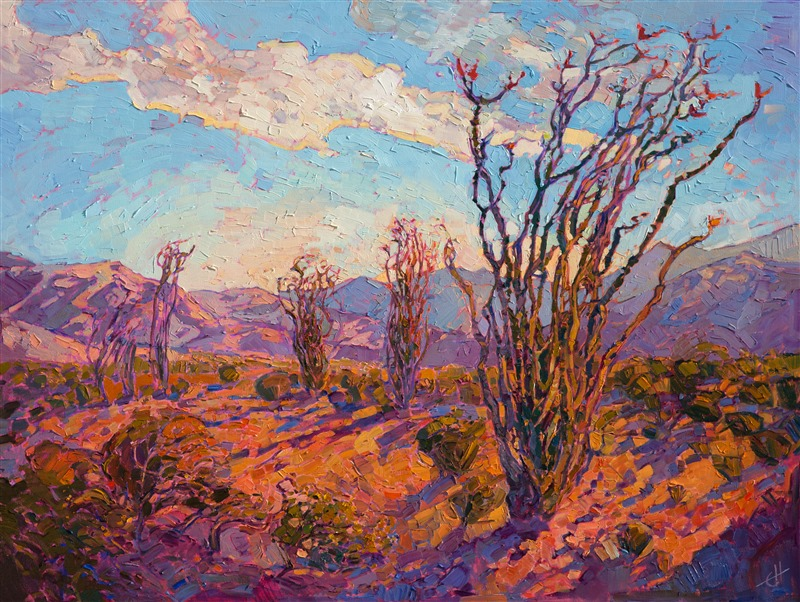 Ocotillo desert oil painting landscape in a modern impressionistic style.