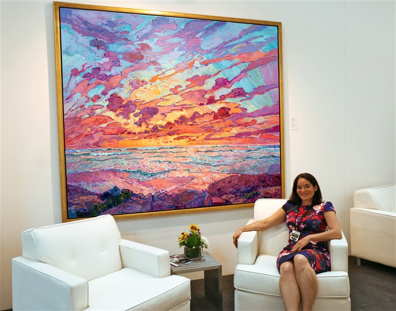 Diego Sky at Art San Diego VIP lounge, with Erin Hanson