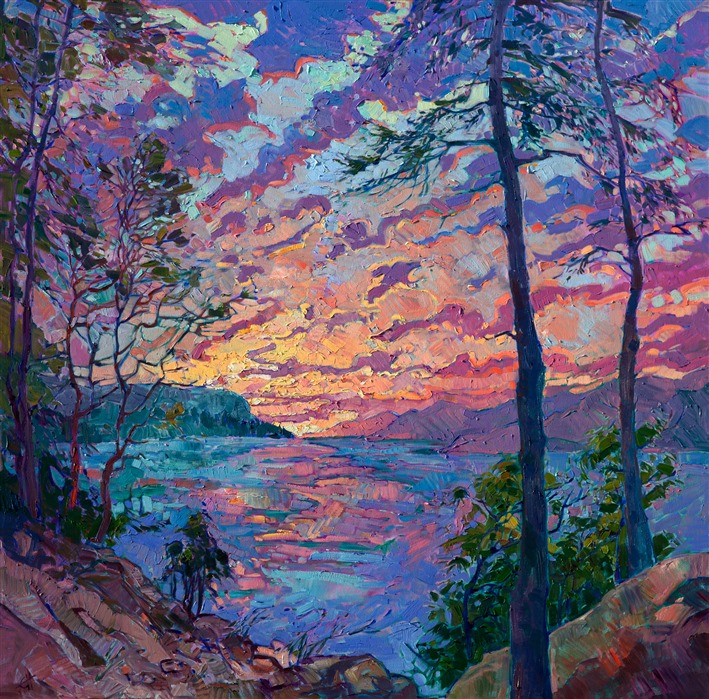 Contemporary Open Impressionist oil painting landscape by Erin Hanson
