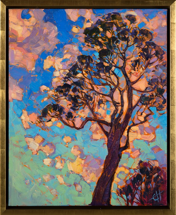Open Impressionism depiction of a california eucalyptus, original oil by Erin Hanson.