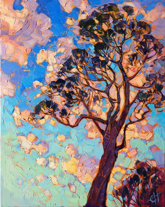 California eucalyptus painting in a contemporary impressionist style, by Erin Hanson.