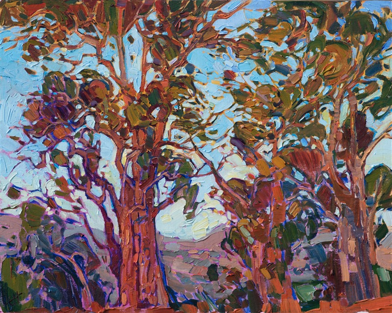 Oil painting of Napa Valley's Eucalyptus trees by impressionist artist Erin Hanson