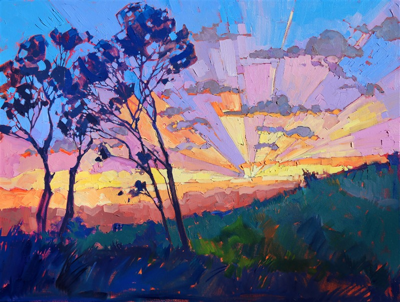 Eucalyptus sun rays painted in abstract color by modern expressionist Erin Hanson