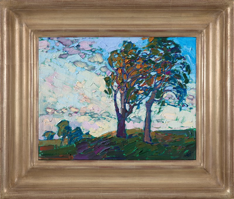 Oil painted landscape of beautiful Eucalyptus trees in Paso Robles by impressionist artist Erin Hanson
