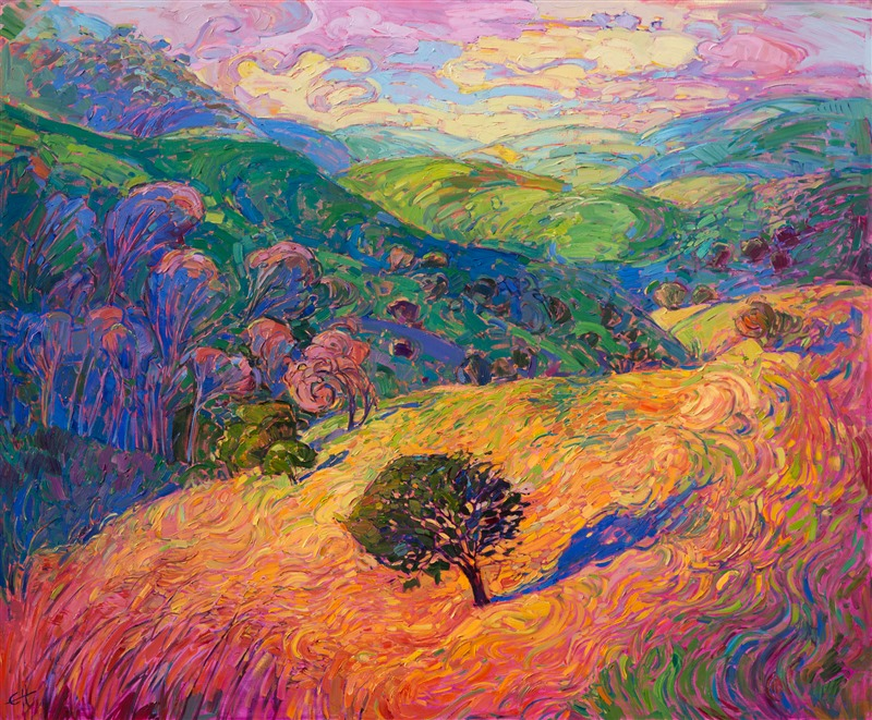 Expressionistic landscape with curving, waving grasses, by Erin Hanson