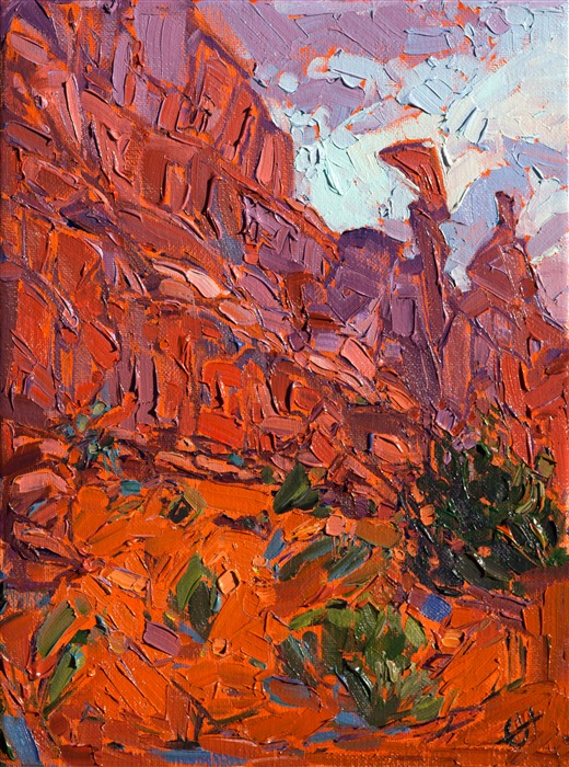 Abstract desert landscape oil painting purchase online, by Erin Hanson