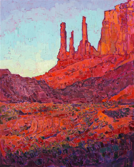 Fins at Arches National Park, original oil painting for collectors of Western Art.