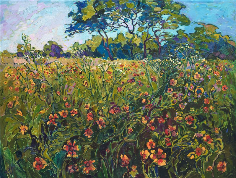 Texas wildflower painting inspired by the hill country, by Erin Hanson.