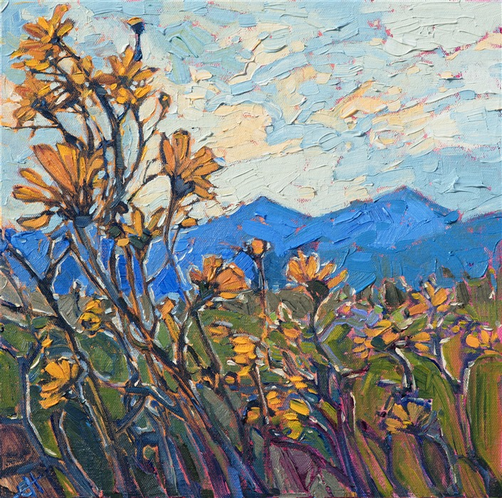 Borrego Springs landscape painting of wildflowers by impressionistic artist Erin Hanson