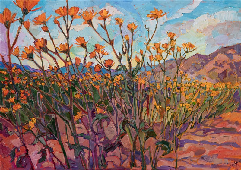 Borrego Springs superbloom painting by modern impressionist Erin Hanson.