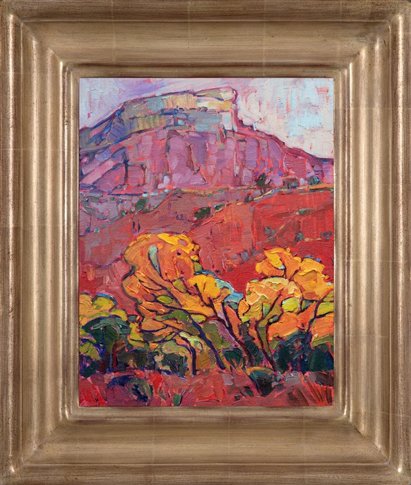 Fall landscape painting of Ghost Ranch, New Mexico framed in hand carved champange frame by impressionist artist Erin Hanson