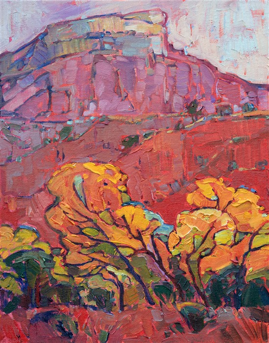 Fall landscape painting of Ghost Ranch, New Mexico by impressionist artist Erin Hanson