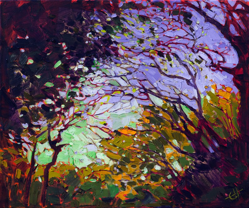 24 karat gold leaf oil painting by modern landscape painter Erin Hanson.