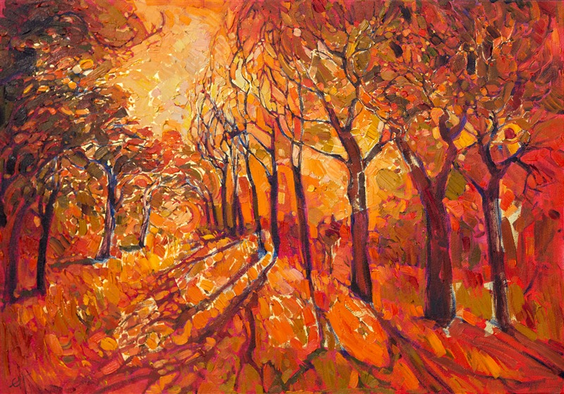 Contemporary impressionism oil painting done on 24kt gold leaf, by Erin Hanson.