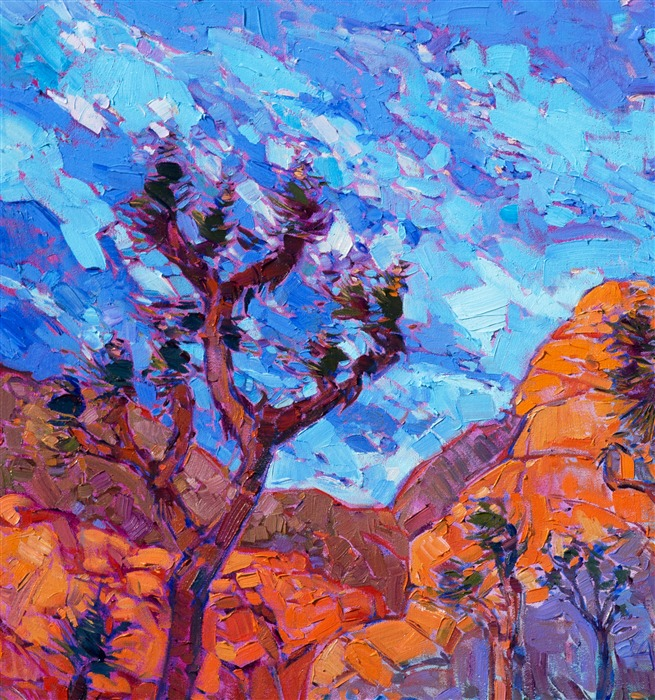 Joshua Tree impressionist oil painting by famous California painter.