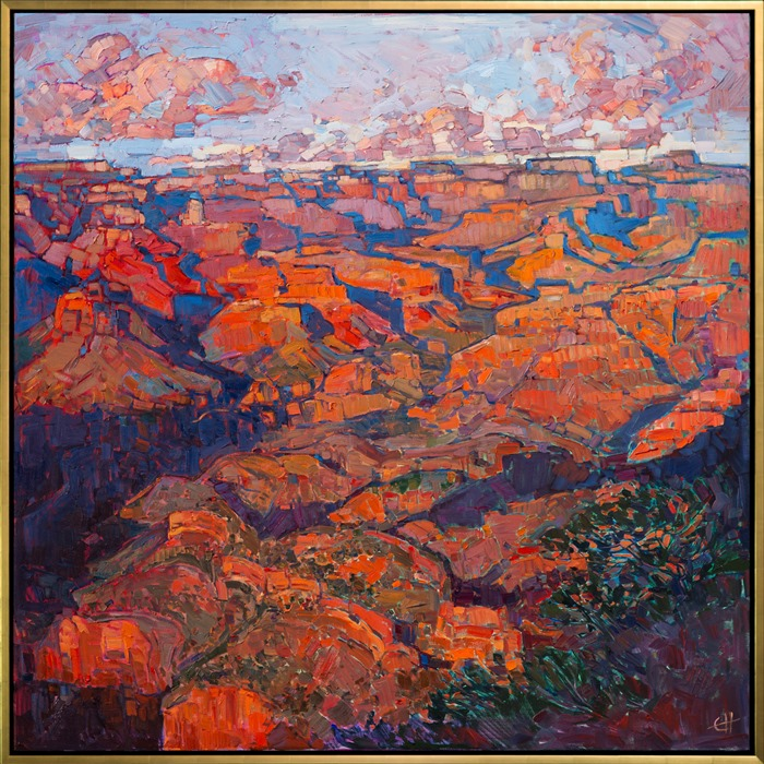 A gold floater frame adorns this oil painting, Grand Canyon in Orange.
