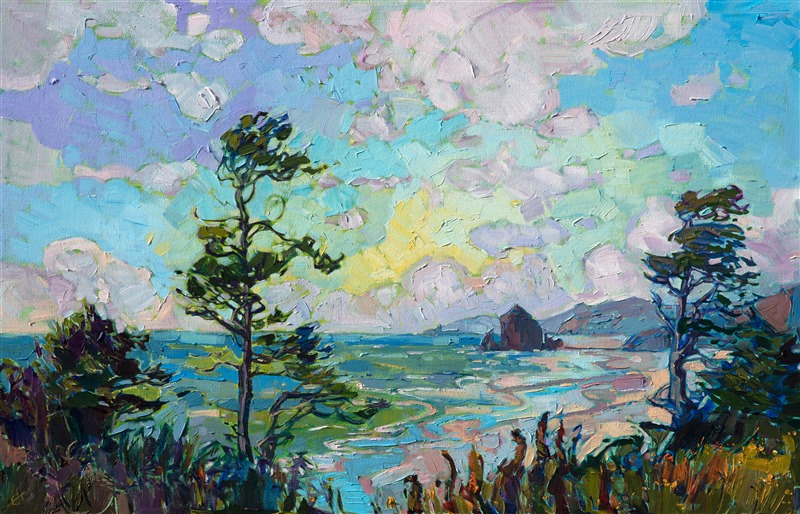 Oil painting of Haystack Rock, northwestern landscape painting by contemporary artist Erin Hanson