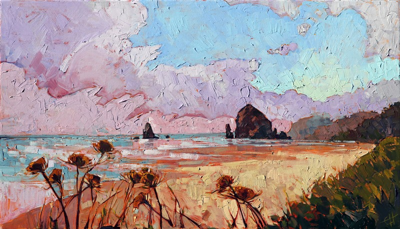 Haystack Rock, Oregon seascape oil painting for sale by the artist, Erin Hanson