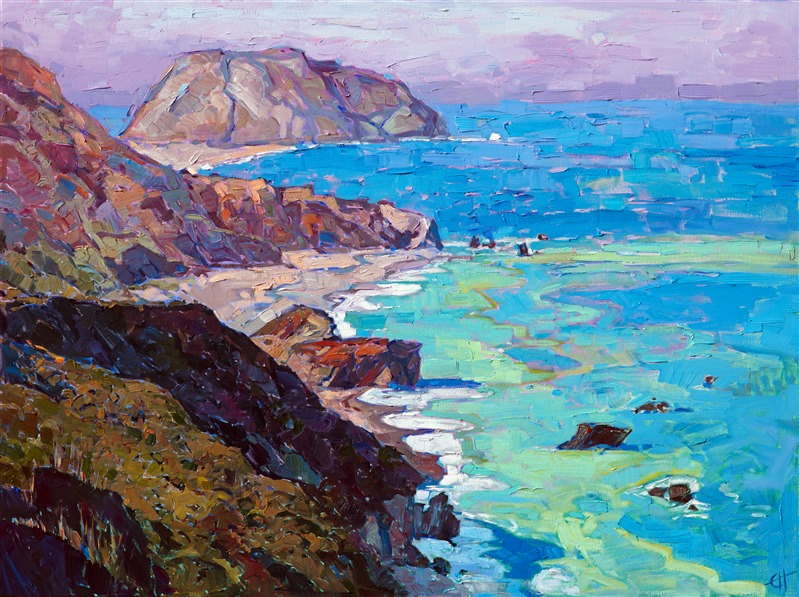 Highway 1 California coastline original impressionist oil painting by Erin Hanson