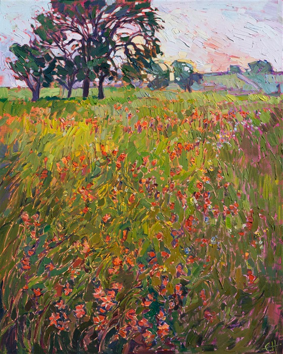Texas hillcountry wildflowers painted in a vivid impressionist impasto style