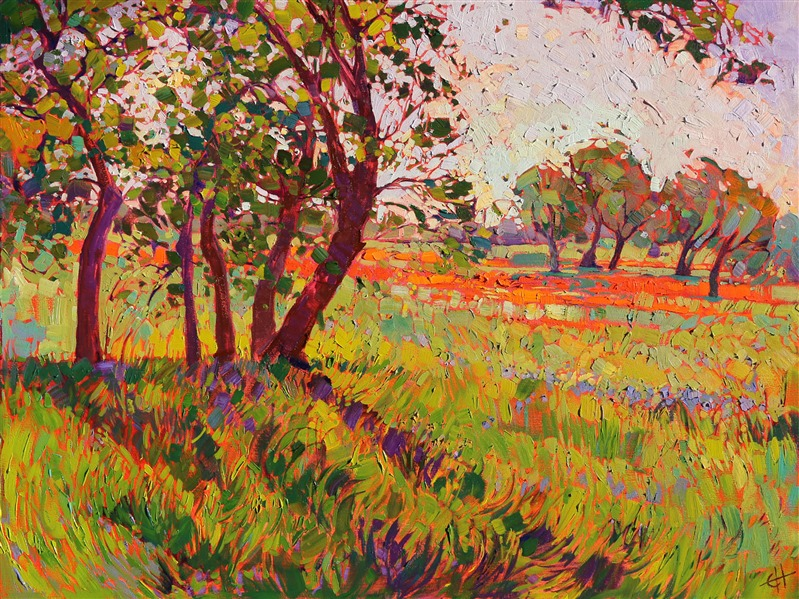 Texas hill country expressionist landscape oil painting for sale by artist