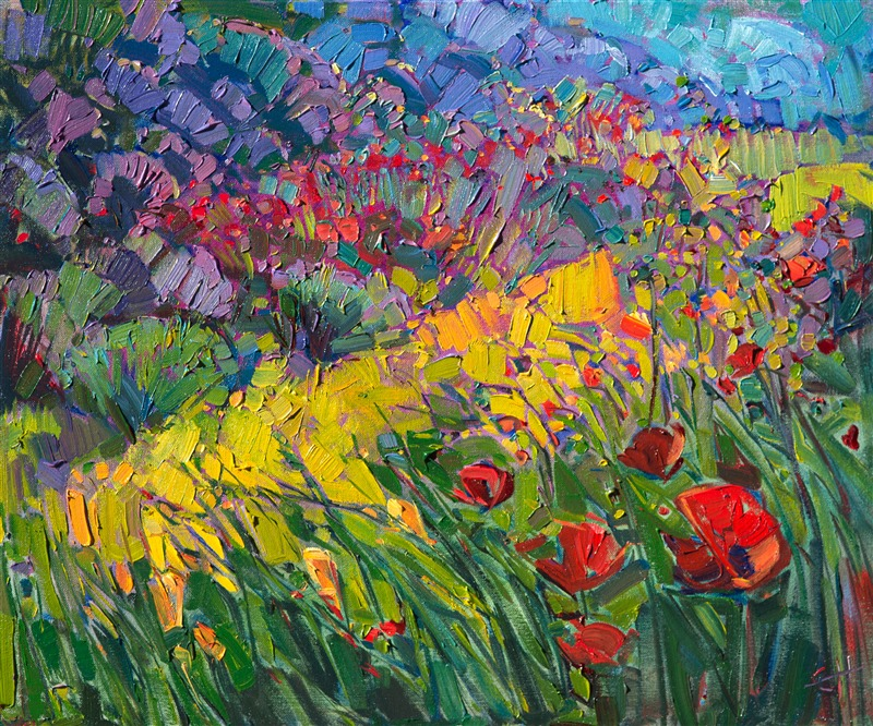 Poppies and lavender landscape painting in oil, by Erin Hanson