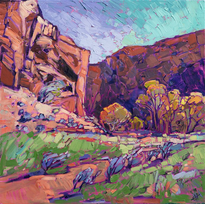 Zion National Park original oil painting for sale at the Zion Art Museum, Springdale, Utah.