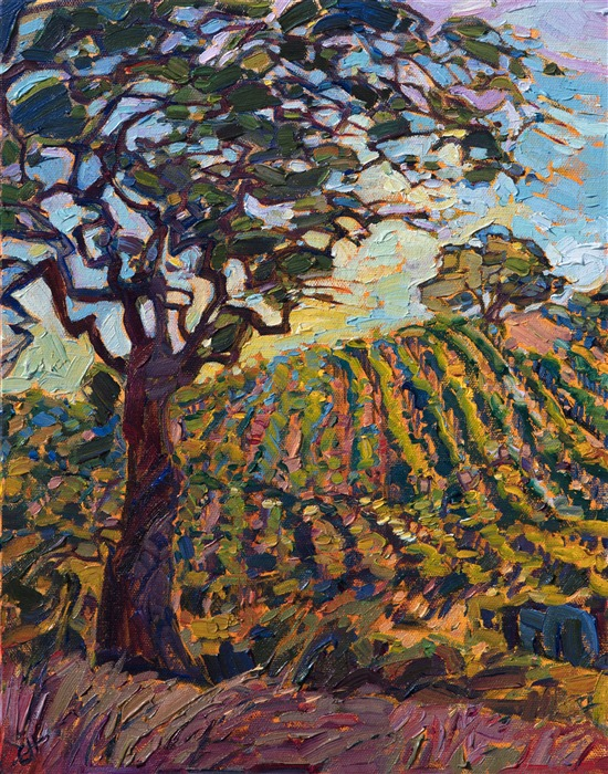 Napa Valley wine country painting by modern impressionist Erin Hanson