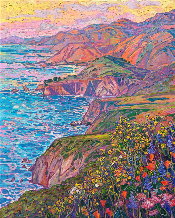 Hurricane Point original oil painting by California impressionist painter Erin Hanson