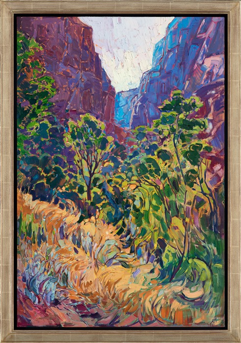 Impressionistic oil painting of Kolob Canyon in Zion National Park by Erin Hanson in gold frame