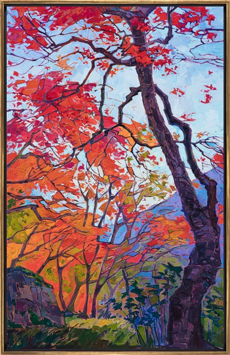 Oil painting of vibrant fall colors in Kyoto Japan framed in gold floater frame, painted by contemporary impressionist artist Erin Hanson