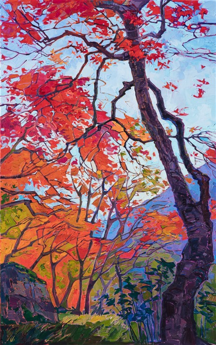 Kyoto scenery oil painting of vivid autumn colors painted by contemporary impressionist artist Erin Hanson