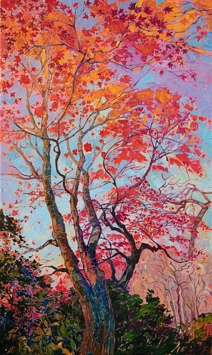 Kyoto Japanese maple tree oil painting in modern expressive color, by American impressionist Erin Hanson